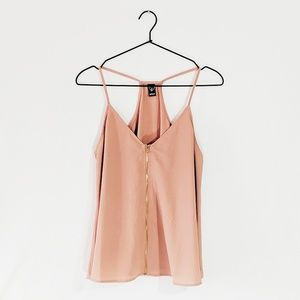 Nude Zippered-Front Tank